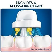 Oral-B Floss Action brush head cleans deep between teeth