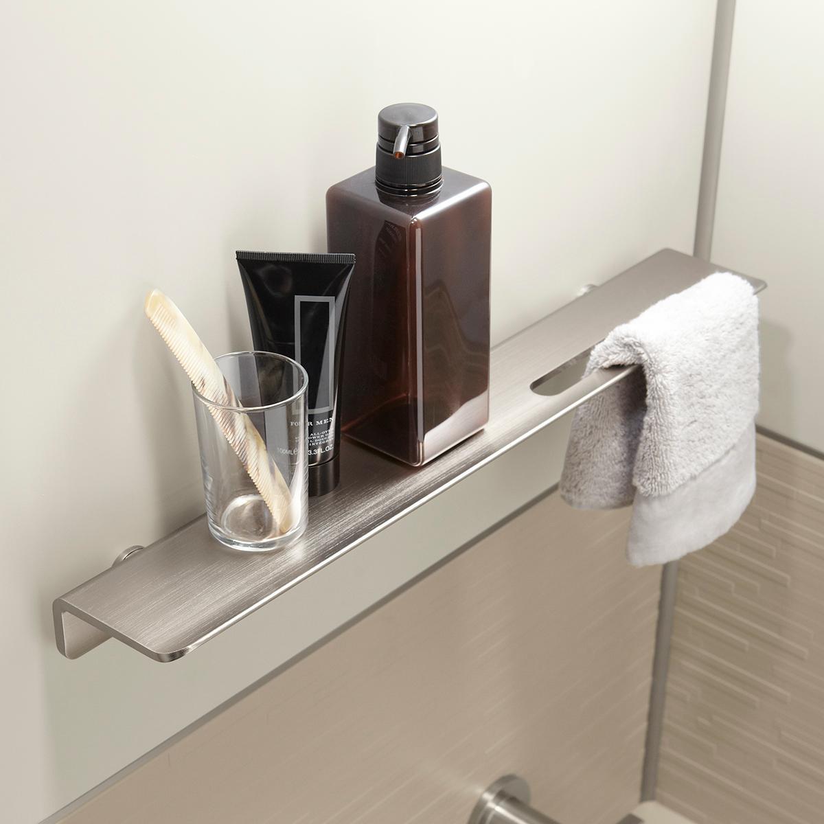 "Brushed Nickel Bathroom Shelving Unit: KOHLER K-97621-BNK Choreograph 7"" Floating Shower Shelf"