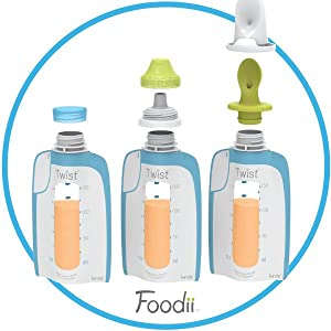 Twist pouch, foodii, squeeze pouch, toddler feeding, puree, pureed food, infantino, squeeze station