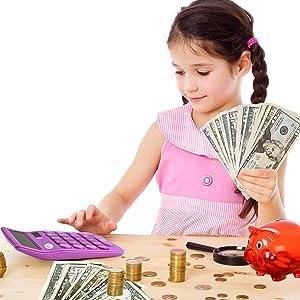 8 digits, desktop calculator, calculator, colored calculator, counting money, math, adding