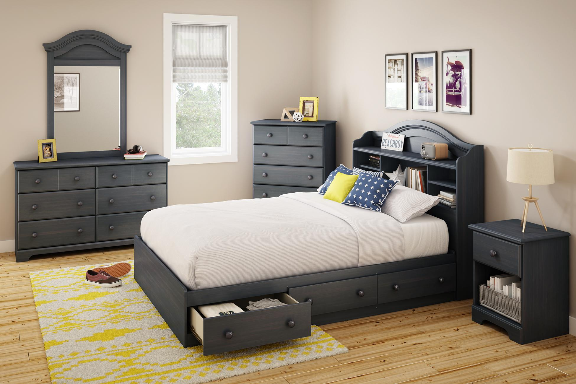south shore summer breeze bookcase headboard full blueberry  - from the manufacturer