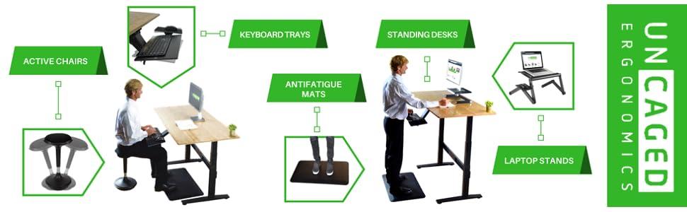 Uncaged Ergonomics Ergonomics Office Product. Keyboard Tray, Standing Desk Manufacturer