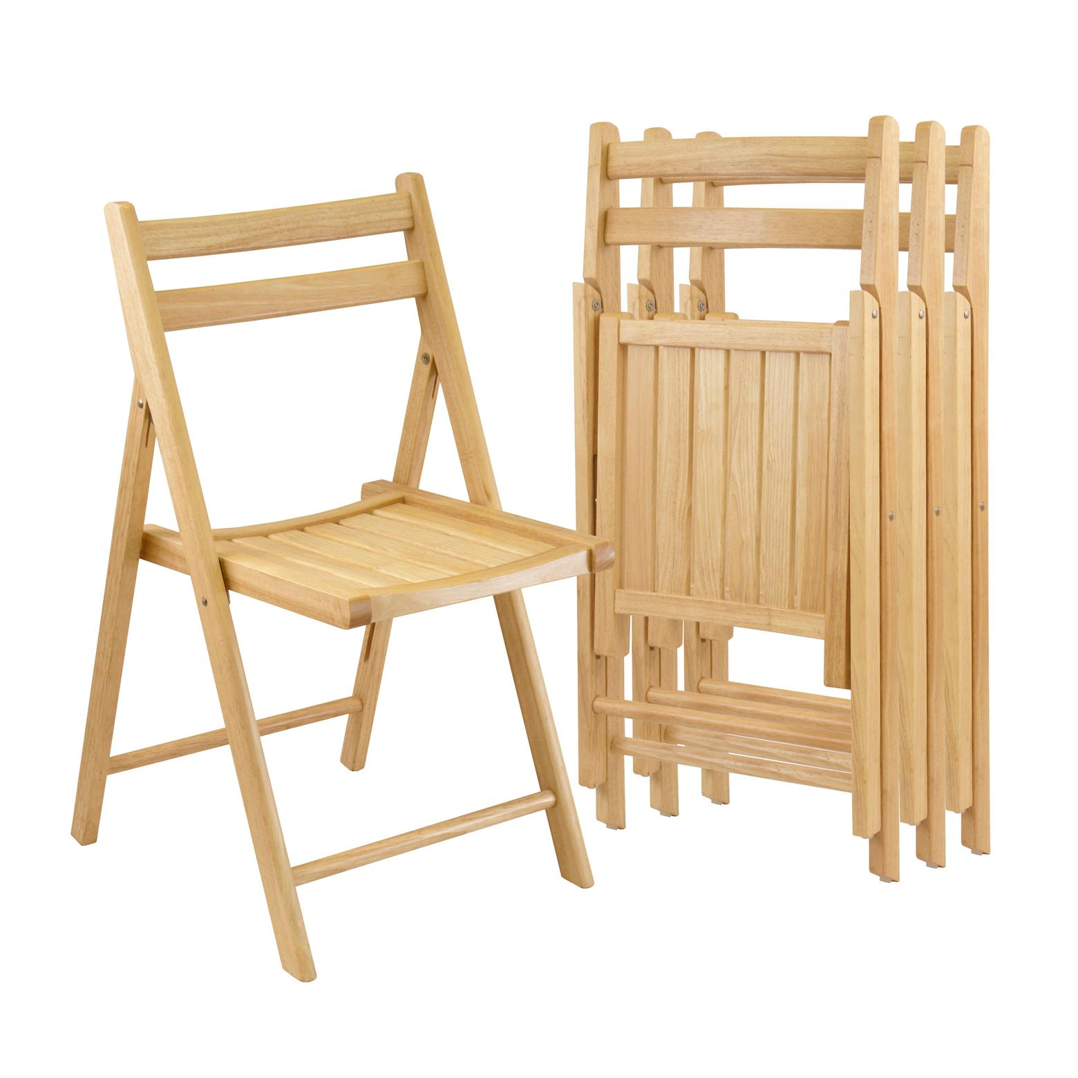 Winsome Wood Folding Chairs Natural Finish Set of 4 Amazon