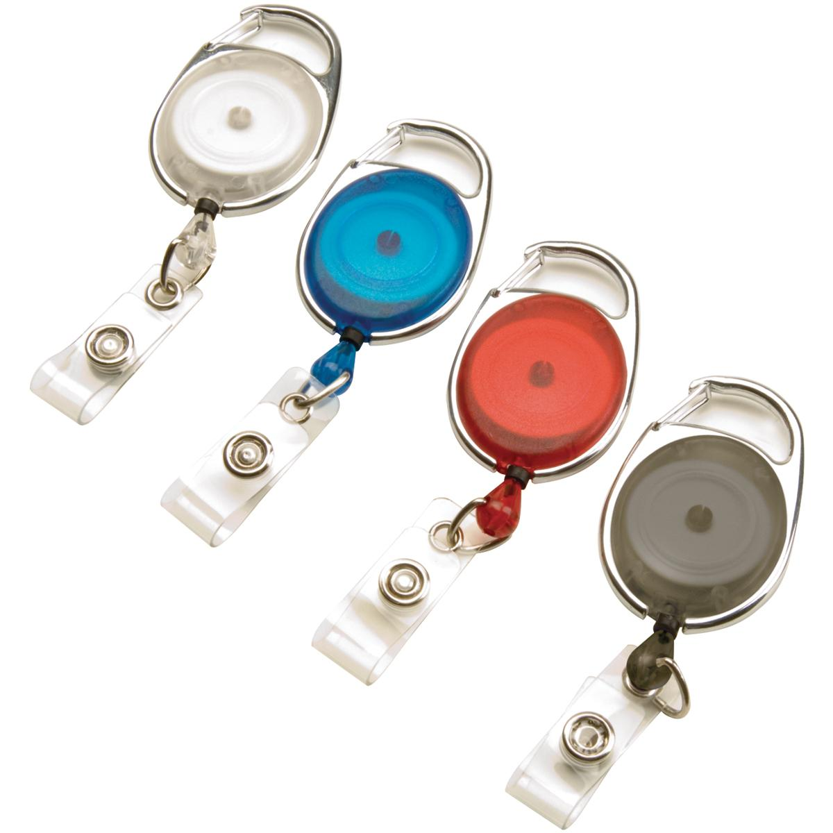 Swingline GBC Retractable Badge Holder, ID Holder, Carabiner Badge Reel,  BadgeMates, Assorted Colors, 4 Pack (3747498)