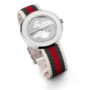dfb9e98a980 Gucci Women s YA129411 U-Play Medium White Nylon Watch  Gucci ...