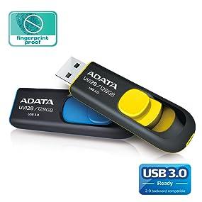 retractable, capless, USB 3.0 Flash Drive, UV128, ADATA