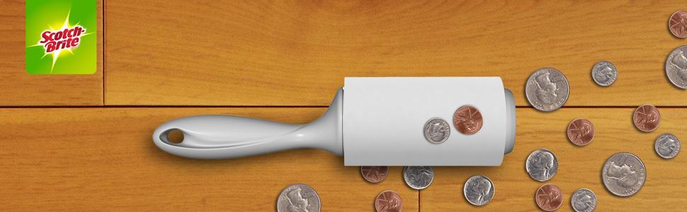 Scotch-Brite Stickier Lint Roller picking up coins