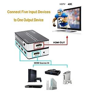 5x1 hdmi switch, 5x1 hdmi switcher,hdmi switch, hdmi switcher, 5 port hdmi switch