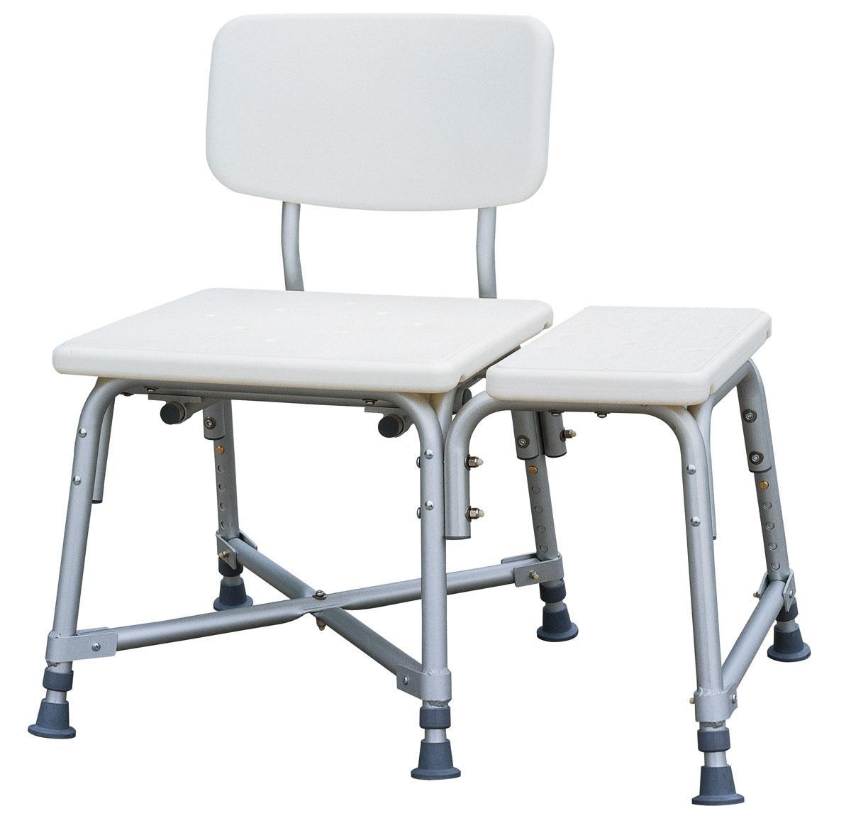 Medline Bariatric Heavy Duty Medical Transfer Bench, with Adjustable Height  and 6 Heavy Duty Supporting