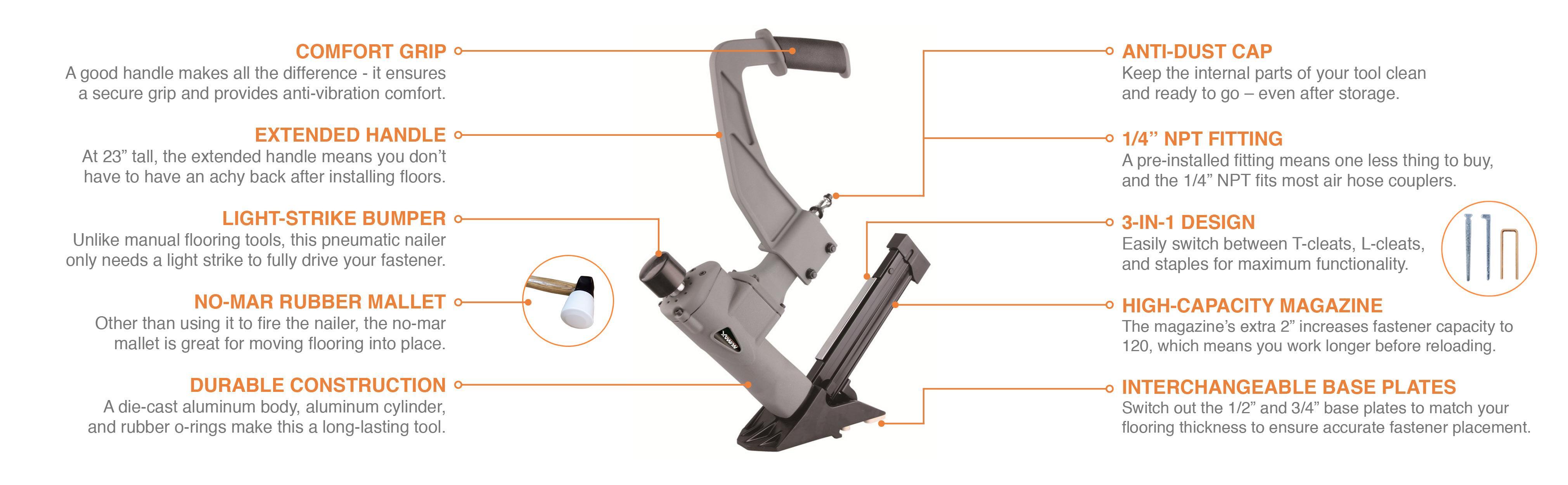Numax Sfl618 3 In 1 Pneumatic Flooring Stapler Nailer With