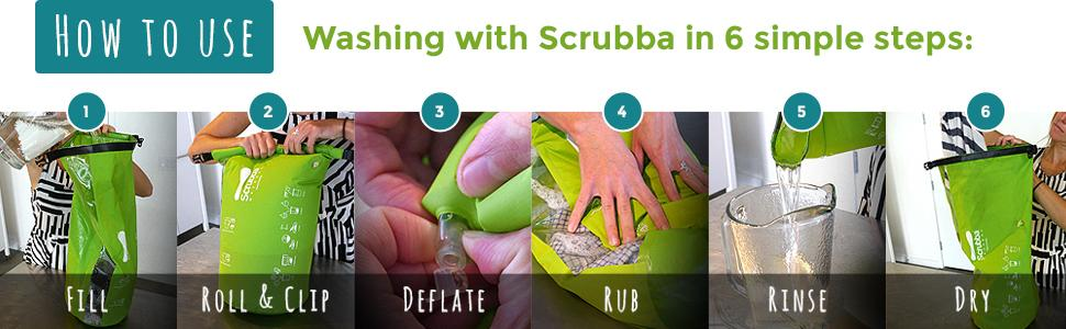 Scrubba Washbag is easy to use. Wash clothes in 6 simple steps.
