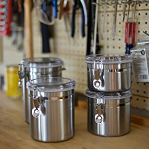 stainless steel; canisters; clamp lid; counter storage; stacking; space saver; pantry; air tight