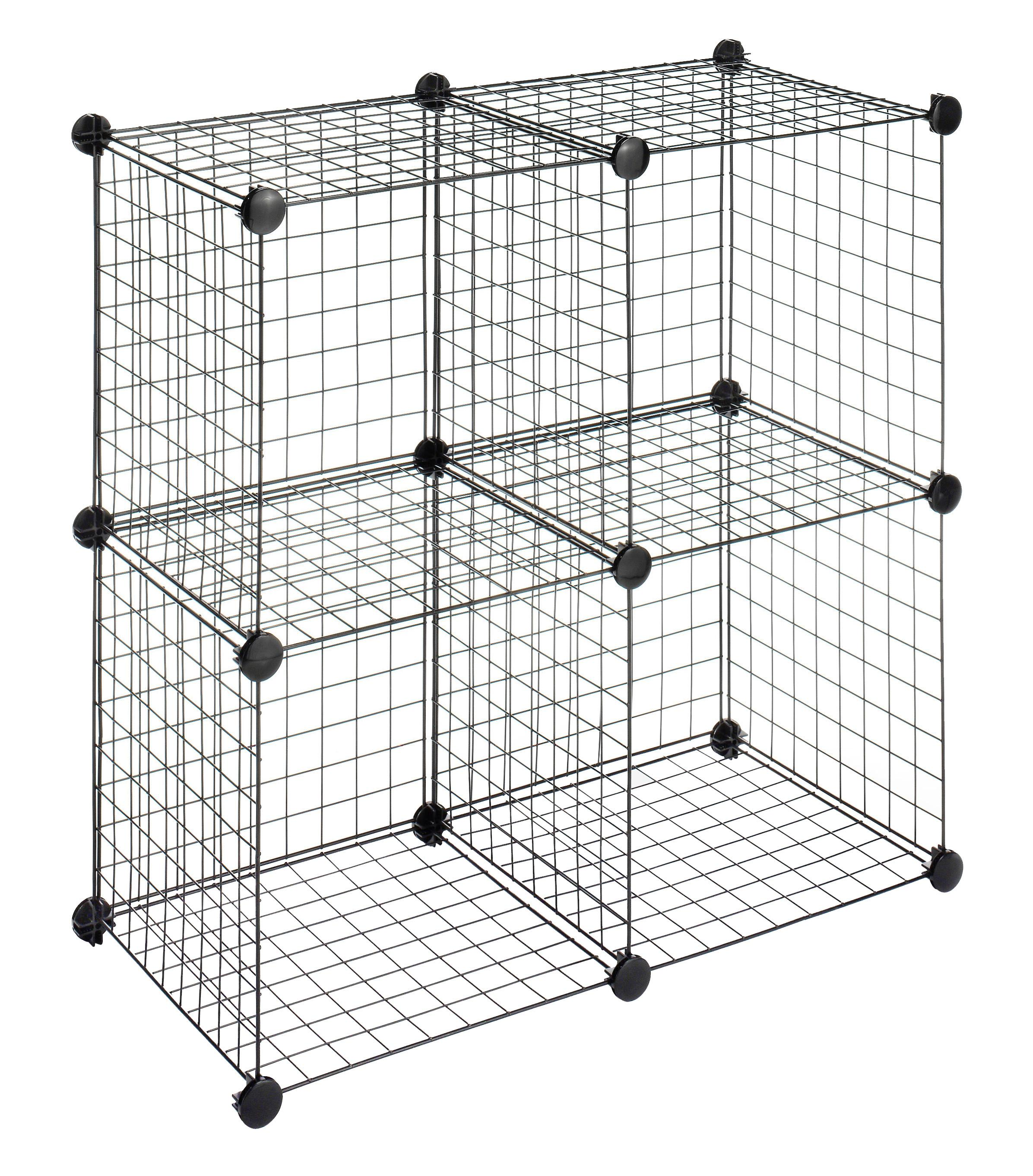 Whitmor Storage Cubes - Stackable Interlocking Wire Shelves -Black ...