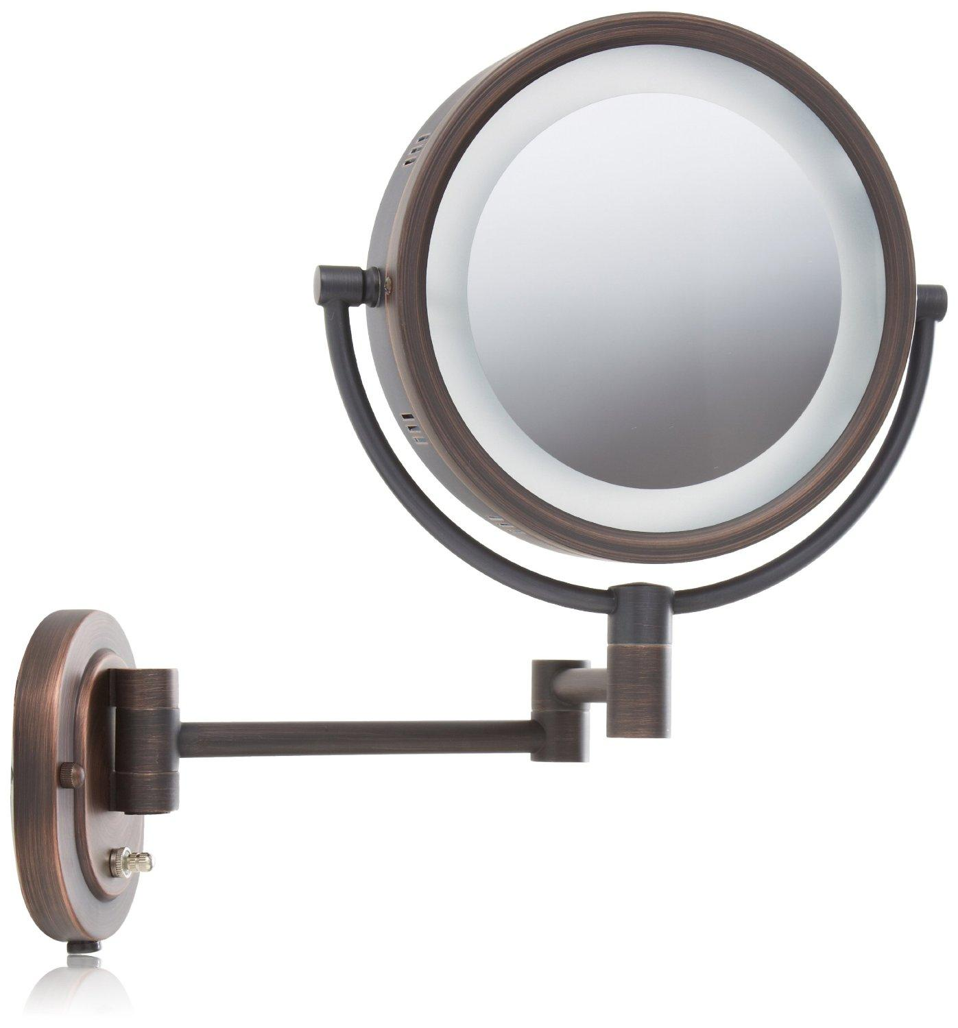 Amazoncom Jerdon Hl65bz 8 Inch Lighted Wall Mount Makeup Mirror