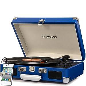 Crosley Cruiser Deluxe Vintage 3-Speed Bluetooth Suitcase Turntable, Black