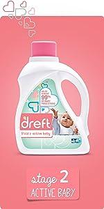 detergent for sensitive skin, gentle laundry detergent, active baby, baby food stains, dreft stage 2
