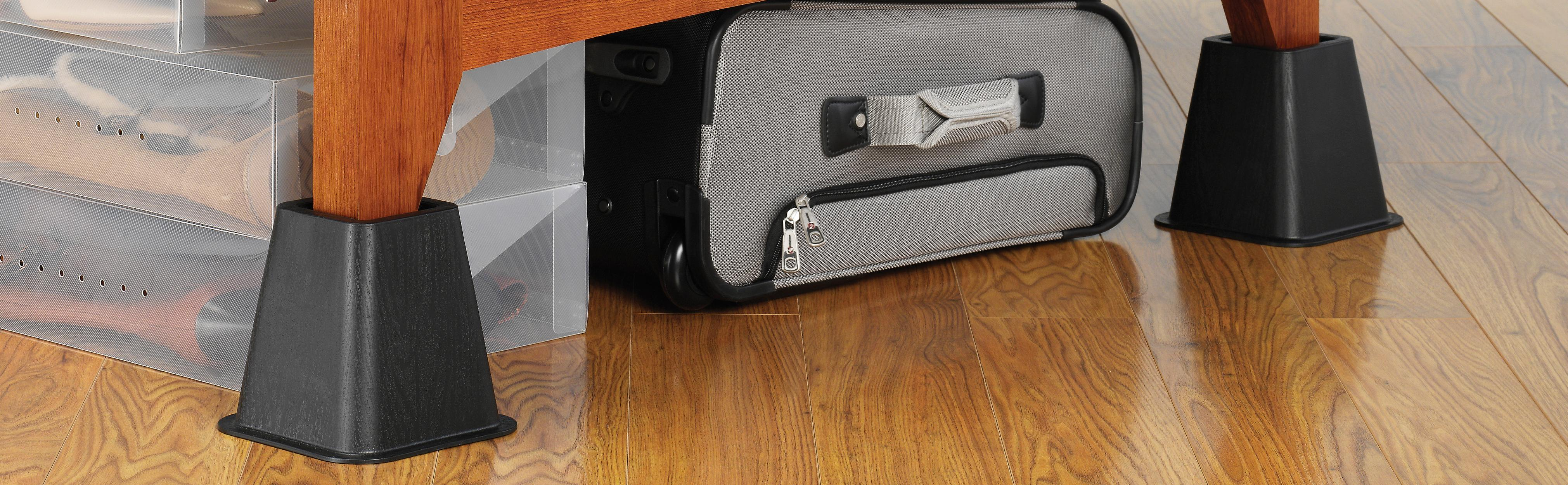 whitmor bed risers black set of 4 home kitchen. Black Bedroom Furniture Sets. Home Design Ideas