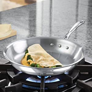 Tri-Ply Stainless Steel Omelette Pan New Calphalon  10-in