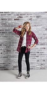 girl's flannel shirt, girl's plaid shirt, girl's long sleeve shirt
