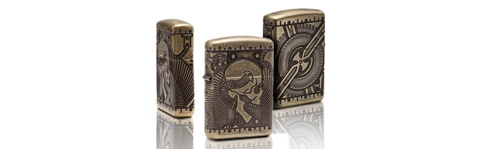 steampunk skull, steampunk skull lighter, zippo skull lighters, 360 degree multicut lighter