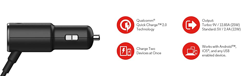 Motorola TurboPower 25 Dual Port Rapid Charge Car Charger