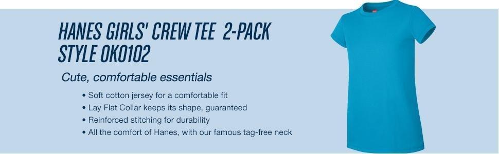 Hanes Little Girls Jersey Cotton Tee Pack of 2