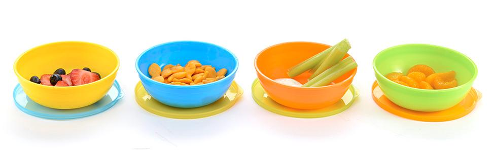 bowl; feeding bowl; toddler bowl; snacks; snacking; bowl set; bowl set with lids; bowls with lids