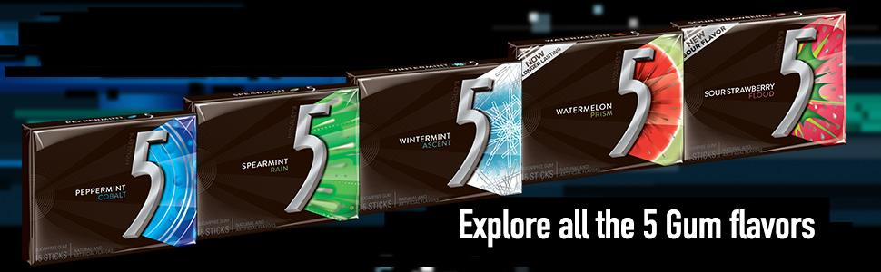 Try 5 Gum in Peppermint, Spearmint, Mint, Wintermint, Watermelon and Strawberry flavors