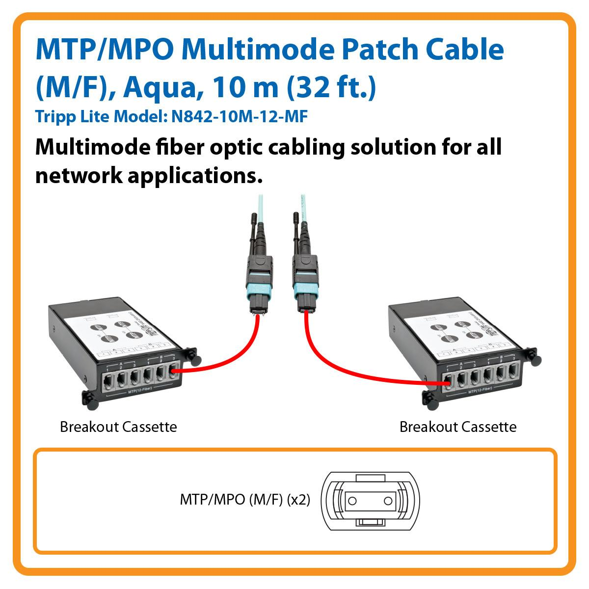 Tripp Lite 32 Mtp Mpo Multimode Patch Cable 12 Fiber Diagram 40 Gbe Om3 Plenum Rated M F Aqua 10m Ft
