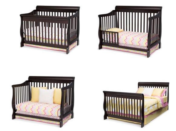 delta children canton 4 in 1 convertible baby crib espresso cherry baby. Black Bedroom Furniture Sets. Home Design Ideas