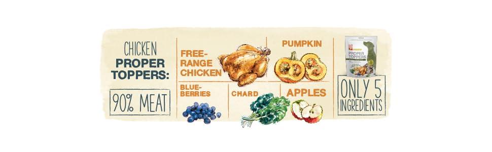 proper topper dog food, dog food superfoods, dog food boost, dog food chicken