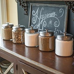 countertop; storage; glass; metal lids; pantry storage; fresh food; baking; flour; sugar