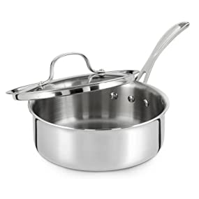 Calphalon Tri-Ply Stainless Steel 2.5-Quart Covered Shallow Sauce Pan