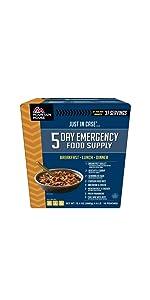 emegency food supply; emergency food kit; camping food; 5-day food supply; mre