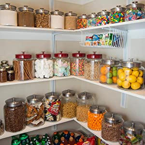 pantry; storage; glass; metal lids; organization; clear glass; various sizes