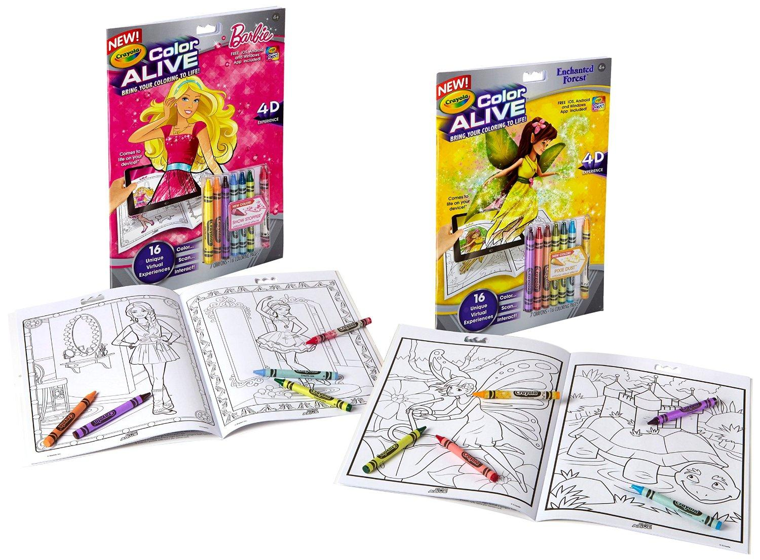 Buy Crayola Color Alive Action Coloring Pages - Combo Set - Barbie ...