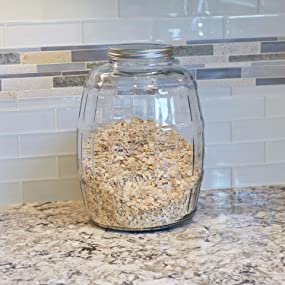 Anchor hocking; glassware; barrel jar; glass; pantry storage;