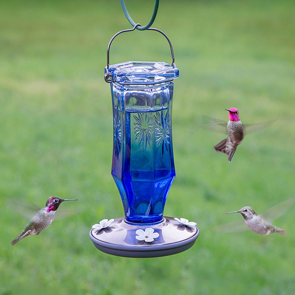 Perky Pet Sapphire Starburst Vintage Glass Hummingbird Feeder