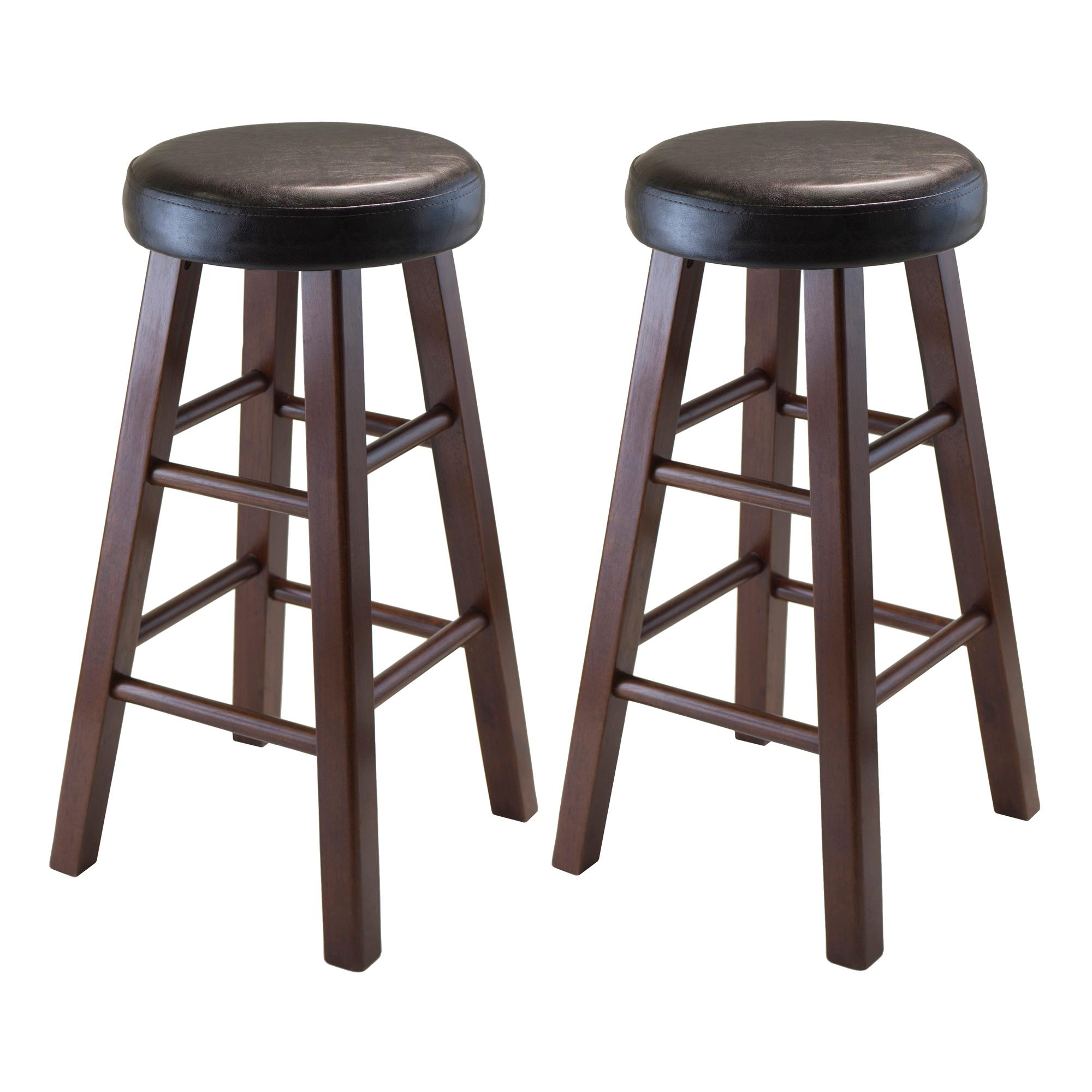 winsome wood marta assembled round counter stool with pu leather cushion seat square legs