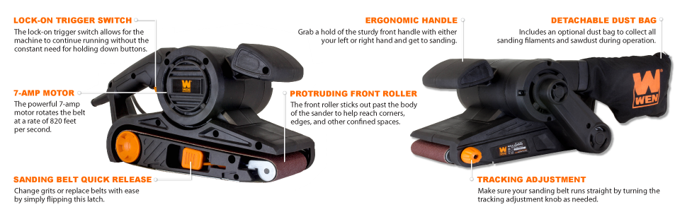 Corded Sander Heavy Duty Belt Sander with Dust Bag 7-Amp Motor 3 in x 21 in