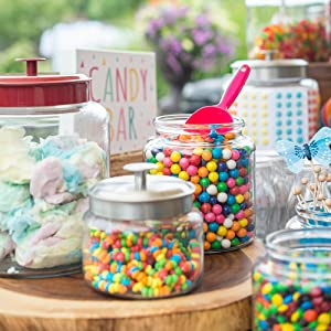 entertaining; entertaining at home; glass; metal lid; party; candy;