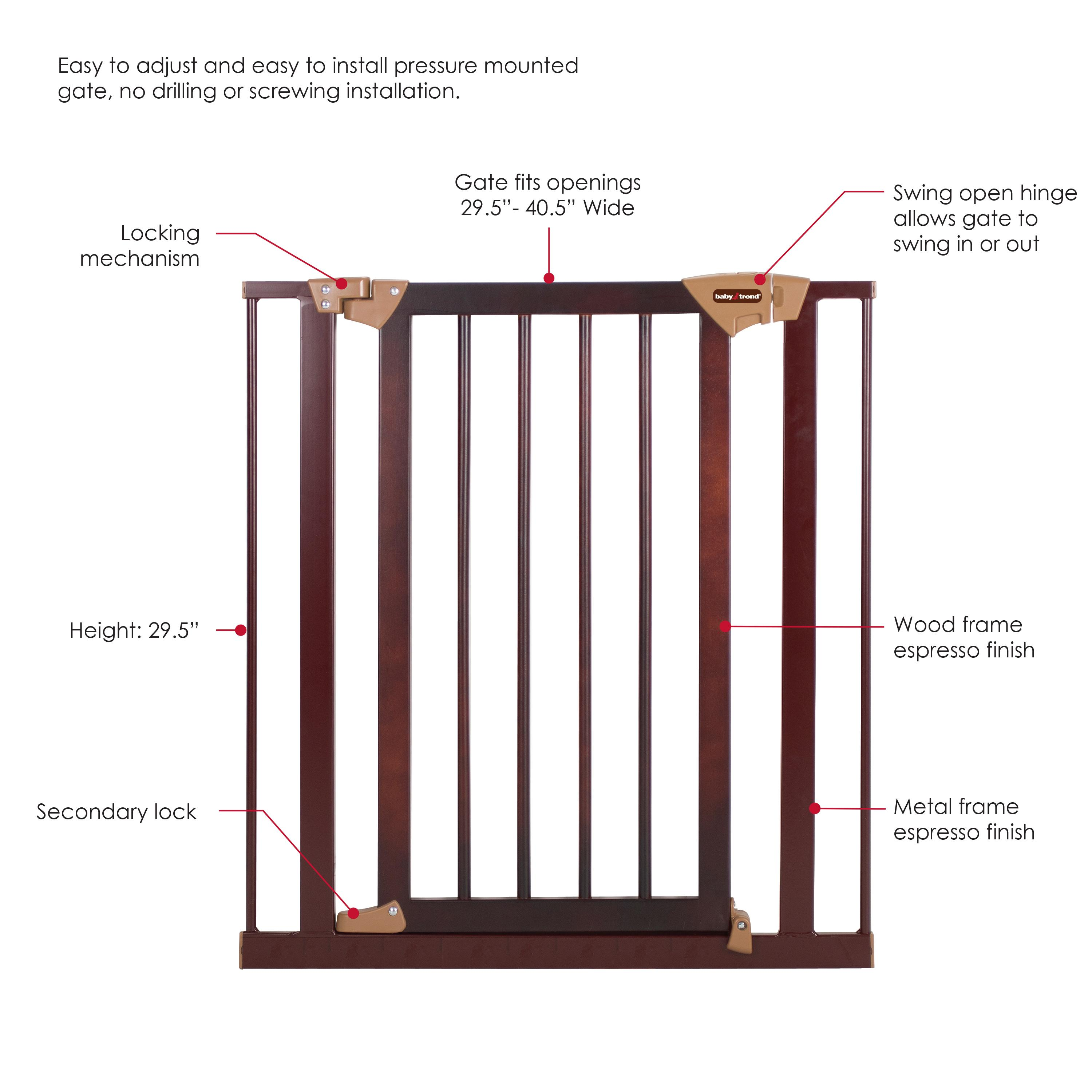 Amazon Com Baby Trend Tall Pressure Fit Wood And Metal Gate