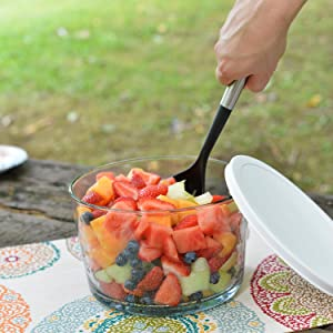 anchor hocking; glass; party bowl; trifle bowl; salad bowl; dessert bowl; entertaining; entertain;