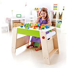 Award Winning Hape Early Explorer Play Station and Stool Set with Art Easels and Accessories E1015