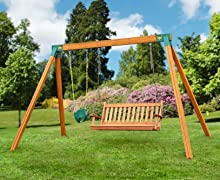 Wooden Bench Swing Set with Toddler Baby Swing
