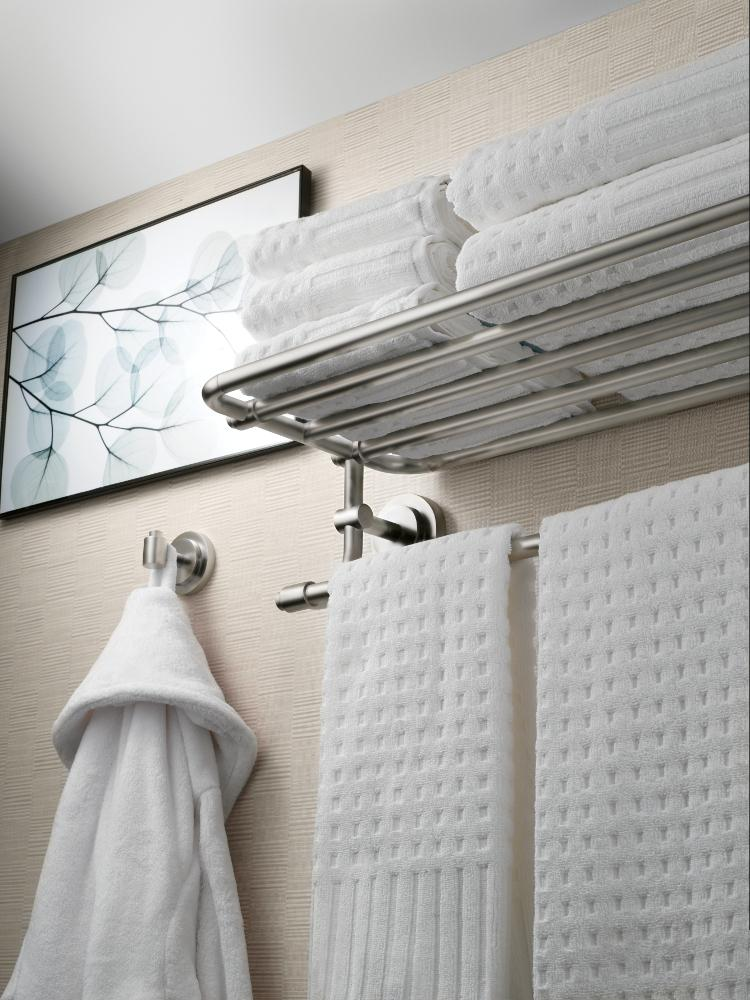 Moen DN0794BN Iso Bathroom Towel Shelf, Brushed Nickel - Mounted ...