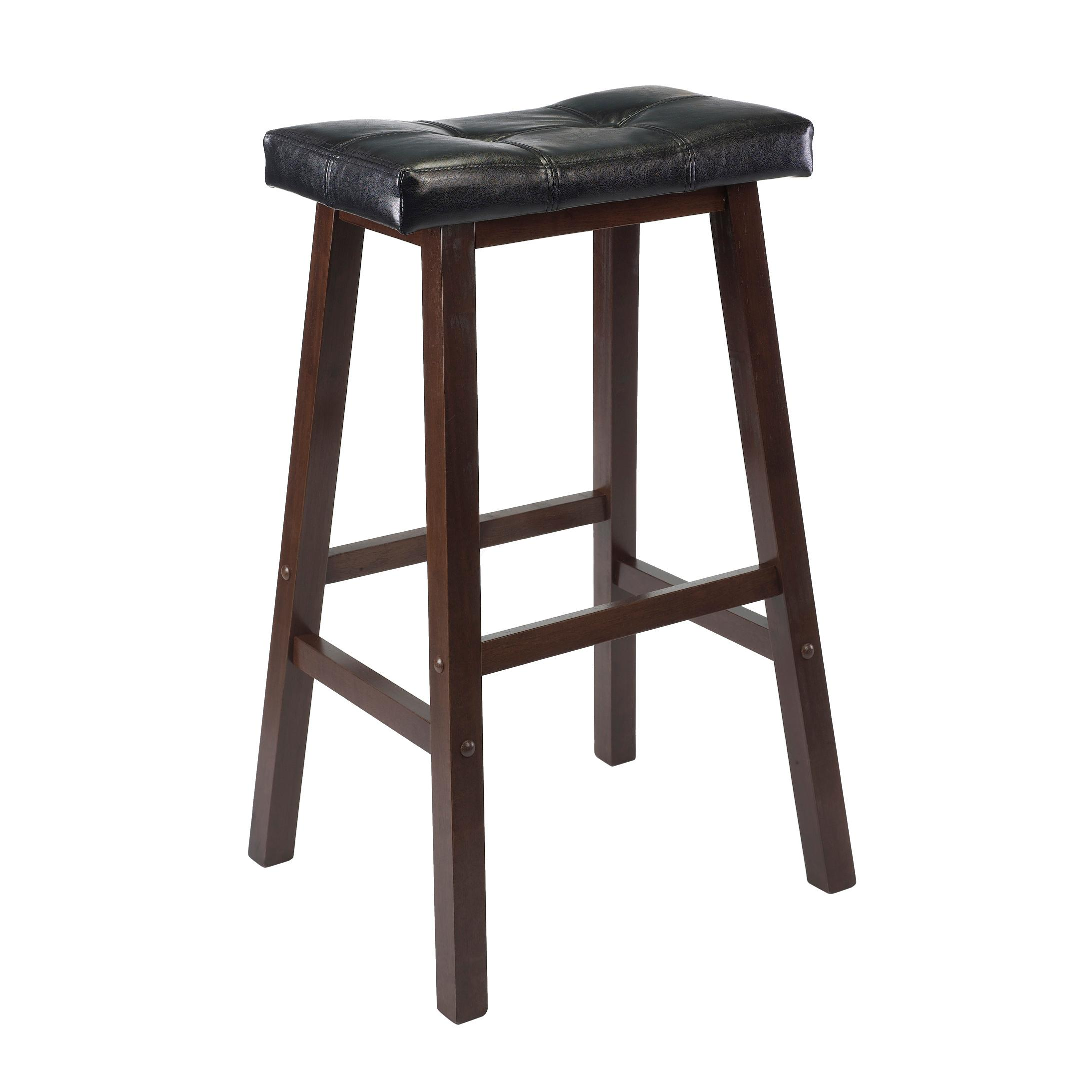 Winsome Wood Mona 29 Inch Cushion Saddle Seat Stool Walnut