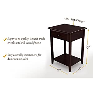 """Espresso 17/"""" NS-USB-17-ES Stony-Edge Night Stand End Accent Table with USB Port"""