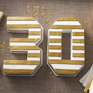 30th birthday cake, milestone birthday cake, number cake pan