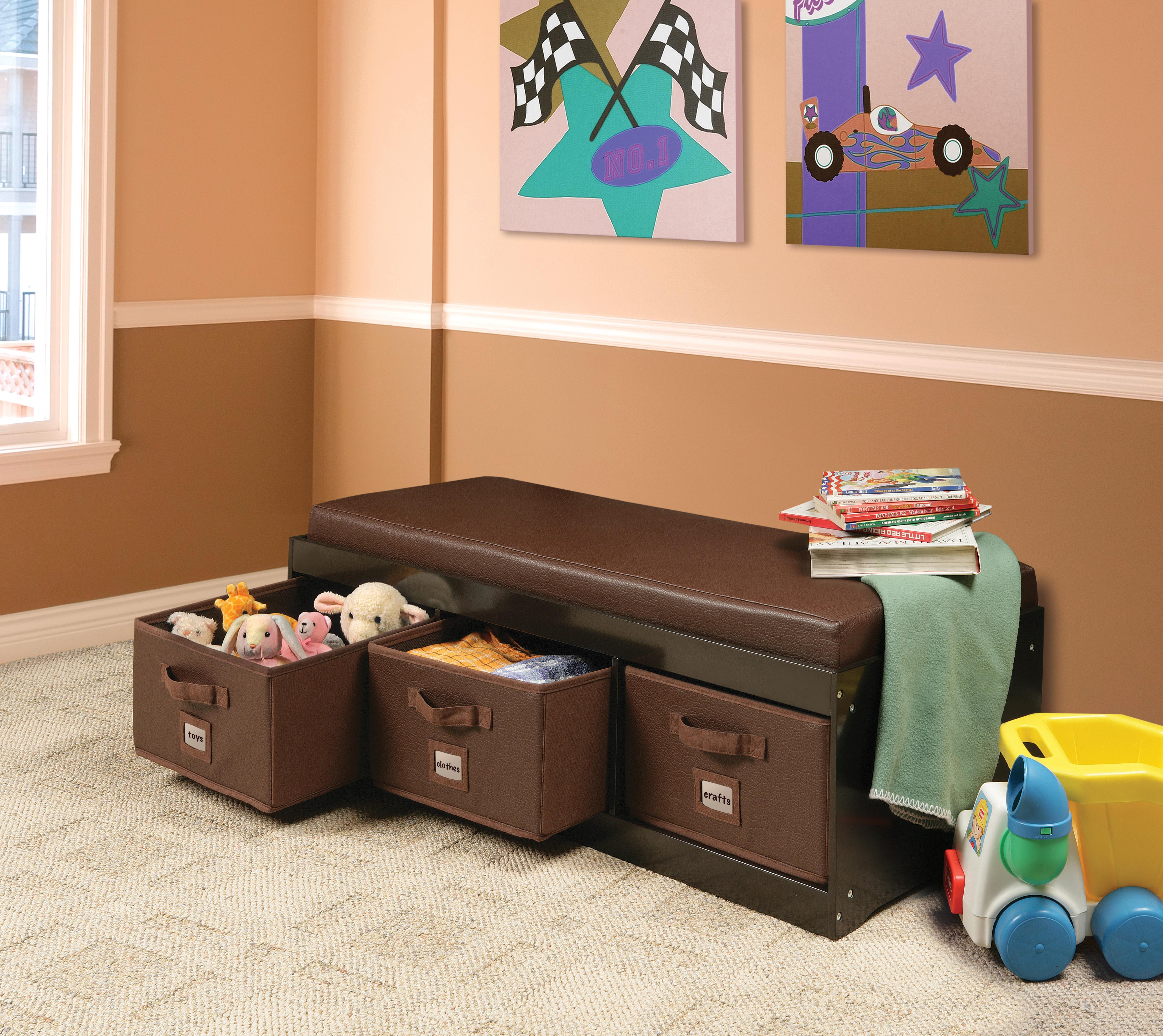 Badger Basket Kid\'s Storage Bench with Cushion and 3 Bins, Espresso